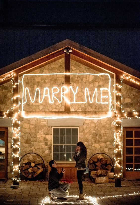 marry me decoration with light